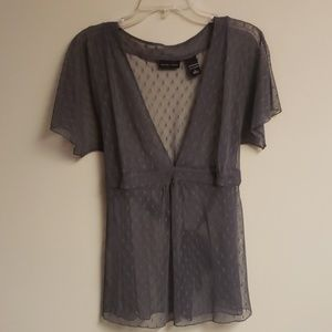 Beautiful Sheer NY&Co Grey Blouse